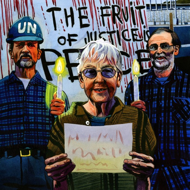 The Transform Now Plowshares from left to right: Michael Walli, Sr. Megan Rice and Greg Boertje-Obed. (Pax Christi)