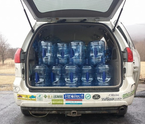 A van filled with relief water for people affected by the chemical spill in West Virginia. (Facebook / Aurora Lights)