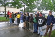 Olympia Port Militarization Resistance protesting military shipments bound for Iraq in 2007. (Indybay)