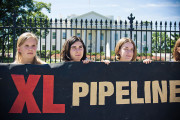 Keystone XL protesters outside the White House in August 2011. (FLickr/ Josh Lopez)