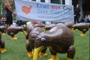 In its first action, the Save Happy Valley Campaign released 150 inflatable Kiwi in a popular inner city park and acted out street theater. (Save Happy Valley Campaign/Timothy Bailey)