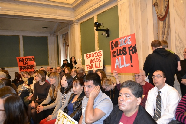 Over 200 people attended the March 12, 2014 City Council hearing on ICE holds. (Philadelphia Sanctuary/Nicole Kligerman)