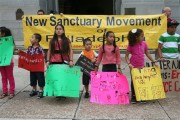 On August 28, 2013, three days before Philadelphia renewed the license that gives ICE direct access to the Philadelphia Police Department's electronic database, 20 immigrant youth and their mothers held a kids day of action against deportation in front of City Hall.  (WNV/ Harvey Finkle)
