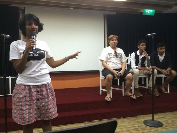 Campaign coordinator Kokila Annamalai facilitates a forum theater session. (WNV/Kirsten Han)