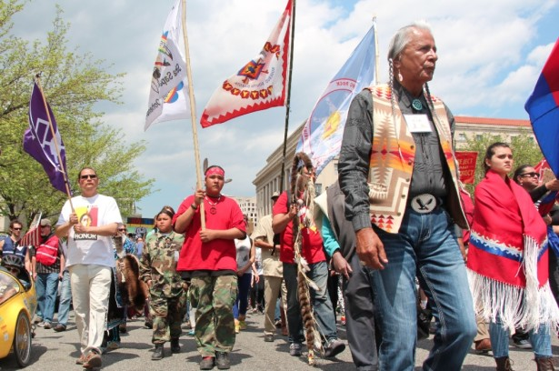 Members of the Cowboy Indian Alliance march through Washington, DC last week. (WNV / Kristin Moe)