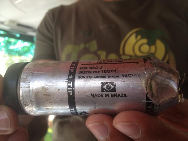 A tear gas canister made by Condor found on the streets of Ankara, Turkey in 2013. (Twiiter/Suzette Grillot)