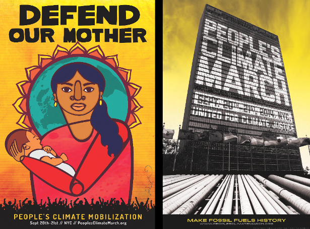 Posters for the People's Climate Mobilization by Faviana Rodriguez (left) and Nicholas Lampert of the Just Seeds Collective (right).
