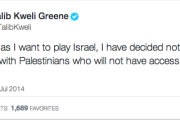 Talib Kweli's tweet announcing he will not longer be performing in Israel.