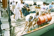 Schooner Te Vega's crew prepares for departure to Leningrad on the Soviet American Sail. (WNV/Nadine Bloch)