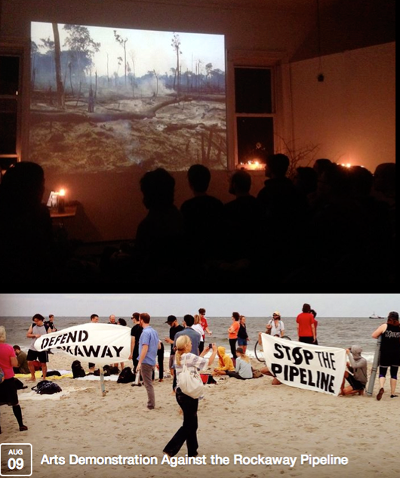 Film screening, 1882 Woodbine (Woodbine); Announcement for Arts Demonstration Against Rockaway Pipeline, Aug. 9, 2014 (Facebook).
