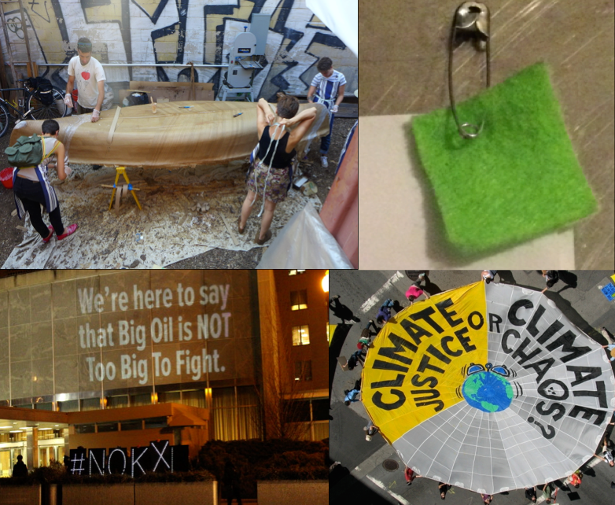Clockwise from top-left: Boat-building session for SeaChange in Troy, New York, July 2014 (SeaChange); prototype for wearable climate justice emblem (WNV/Anonymous); Climate Justice action, San Francisco, October 2009 (actforclimatejustice.org); Illuminator Projection, State Department, March 2014 (Illuminator).