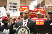 U.S. Congressman Hakeem Jeffries spoke at a rally in May against continuing low-level, racially biased marijuana arrests in New York City. (Flickr / VOCAL-NY)