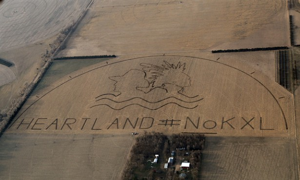 A huge crop art image protesting the proposed Keystone XL pipeline covers an 80 acre corn field outstide of Neligh, Nebraska, on April 12, 2014. (Flickr/Lou Dematteis and Spectral Q)