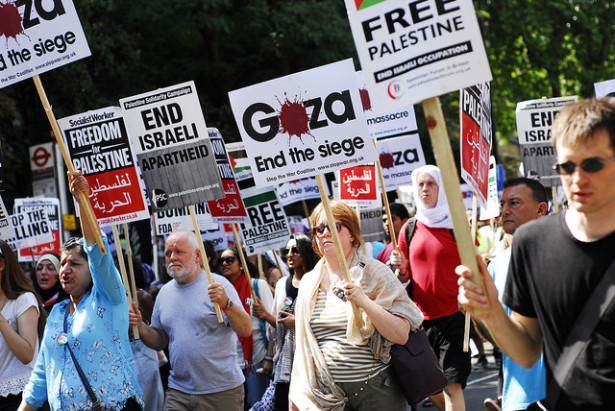 A London protest in solidarity with Gaza on July 26. (Flickr/Shannon Green)