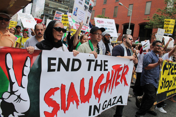 A pro-Palestinian march to the White House in Washington, D.C., on August 2. (Flickr/Elvert Barnes)