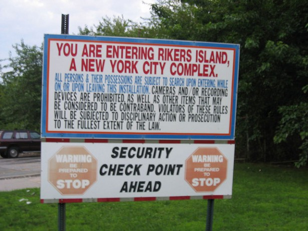 The sign at the entrance to Rikers Island in New York City. (Flickr/Satanslaundromat)