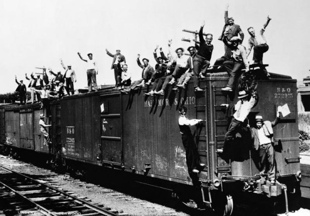 World War I veterans aboard a freight train headed to Washington, D.C. to join the Bonus Army. (Wikipedia)