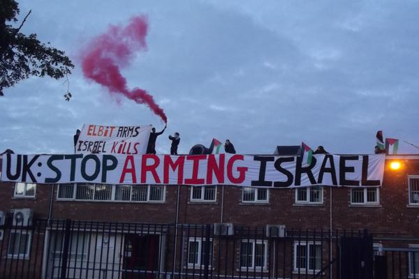 Activists on top of the UAV Engines in Staffordshire, England. (Twitter/London Palestine Action)
