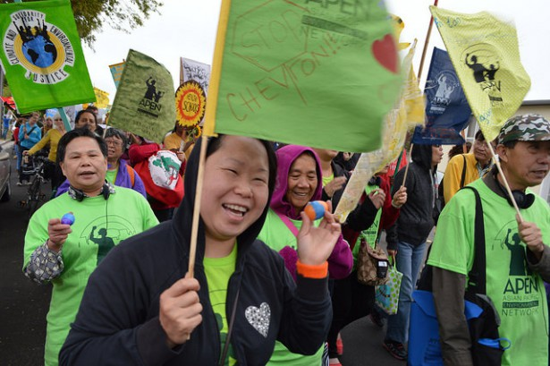 Members of the Asia Pacific Environment Network march in Richmond, Calif. on August 9. (Flickr / Malena Mayorga)