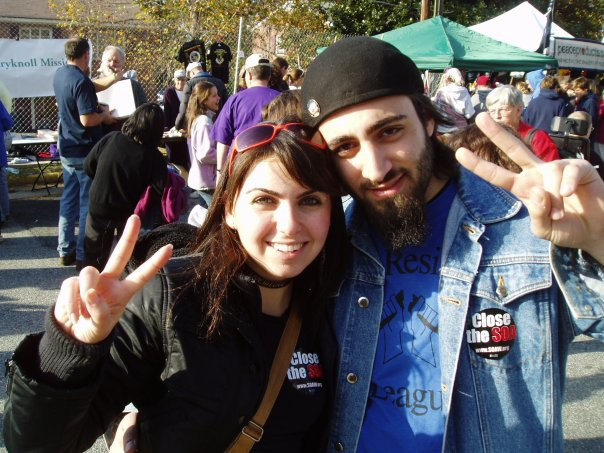Hasmig and Ed at a 2009 protest to close the School of the Americas in Fort Benning, Ga.
