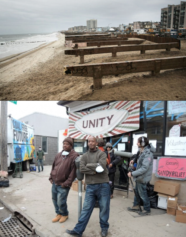 Boardwalk of Far Rockaways after Hurricane Sandy (top); Volunteers at You Are Never Alone community center, Far Rockaways (WNV/Lopi LaRoe)