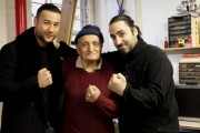 Afghan boxer Hamid Rahimi, boxing belt originator Ardash Sahaghian, and his grandson Edward Majian. (Sartonk / Hasmig Tatiossian)