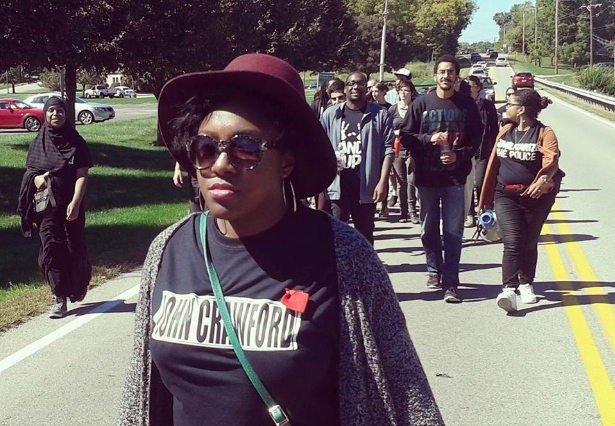 """Members of the Ohio Student Association on their 11-mile """"Journey for John Crawford."""" (Facebook / Ohio Student Association)"""