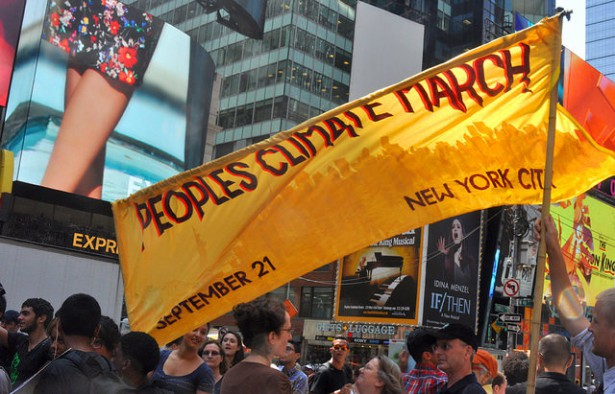 A rally to announce plans for the People's Climate March was held in Times Square last month. (Flickr / Diane Greene Lent)