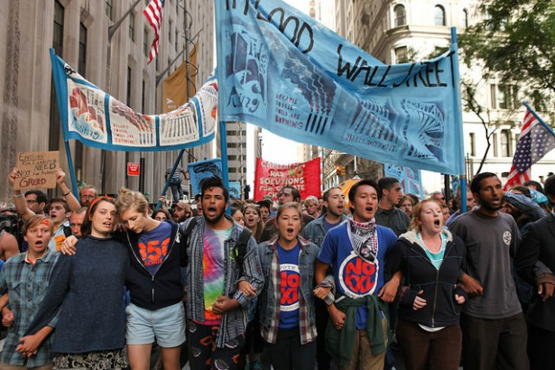 Protesters march up Broadway during Flood Wall Street protests in New York City on Monday. (Flickr / Kyle Depew)