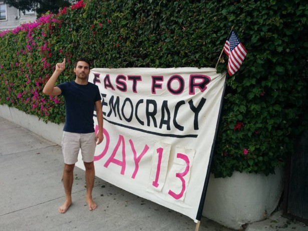 Kai Newkirk on day 13 (October 30) of the Fast for Democracy. (Facebook/99Rise)