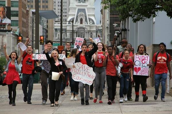 Philadelphia students march in Center City earlier this week. (Facebook / Cy Wolfe)