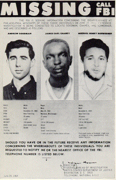 Missing persons poster created by the FBI in 1964 for Andrew Goodman (left), James Chaney, and Michael Schwerner (right). (Wikimedia Commons/FBI)