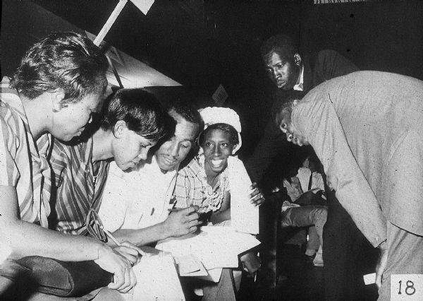 Despite the dangers, Freedom Summer awakened many young Mississippi would-be voters to study and practice with the forms, before attempting to register to vote. (Wisconsin Historical Society)