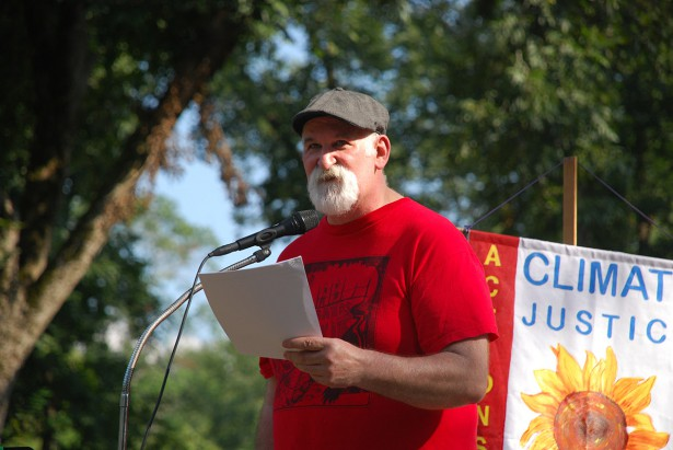 Alec Johnson spoke at a gathering last month about his 2013 act of civil disobedience against the Keystone XL and his upcoming trial. (Tar Sands Blockade)