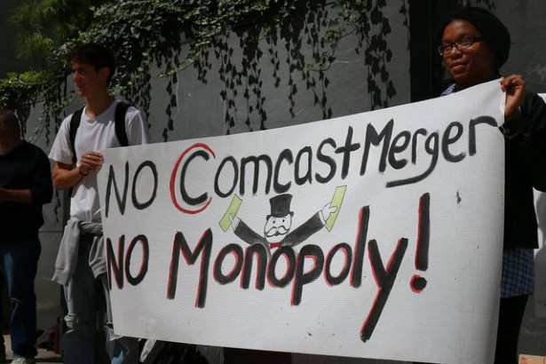 A protest against the Comcast-Time Warner Cable merger was held in Philadelphia on September 15. (Flickr / Free Press)