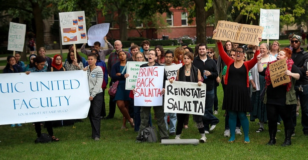 Protesters call to reinstate Steven Salaita at the University of Illinois on September 11. (Flickr/ Jeffrey Putney)
