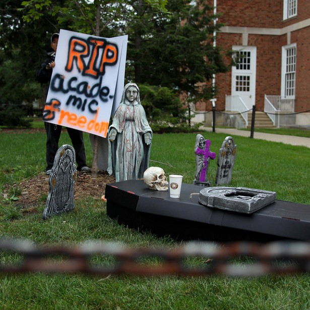 A coffin for academic freedom at the University of Illinois. (Flickr/Jeffrey Putney)