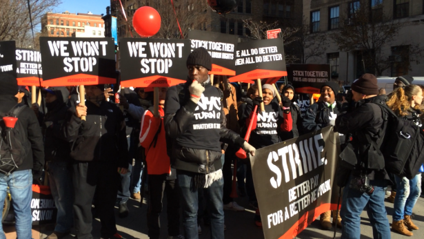 Workers assembling to march to the downtown Manhattan McDonald's. (WNV/Geoff Gilbert)