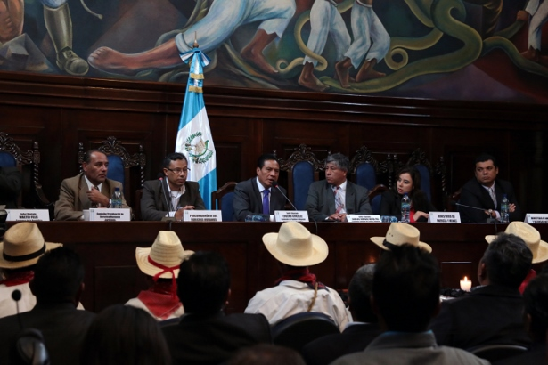 Community leaders of Santa Maria Chiquimula deliver the results of the consulta to a panel of government ministers from the Congressional Commission on Indigenous Affairs, the Ministry of Energy and Mining, and the Ministry of Natural Resources on November 5. (WNV/Jeff Abbott)