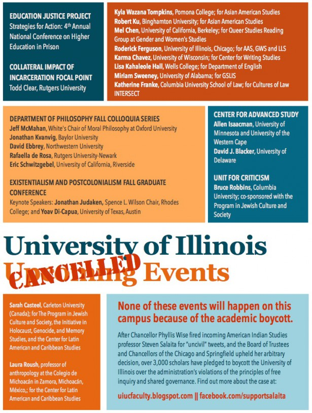 Poster from the Support Salaita campaign, listing events cancelled in solidarity with Steven Salaita. (WNV/Support Salaita campaign)