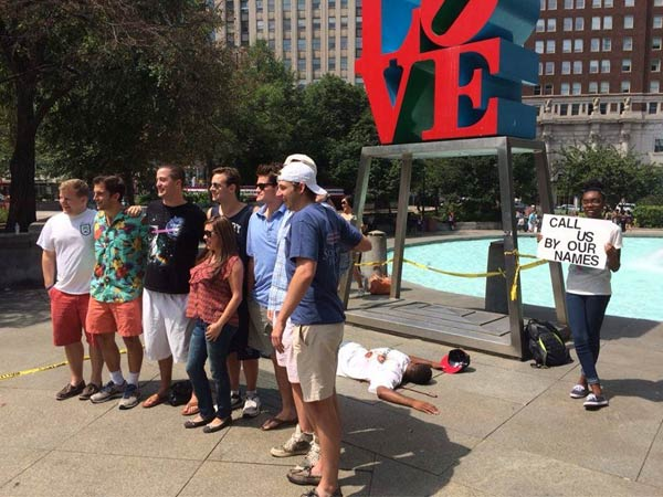 Street theater at the Philadelphia LOVE sculpture. (Facebook)