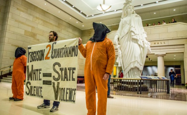 Witness Against Torture members in the US Capitol shortly before being arrested by Capitol Police on January 12, 2015.  (WNV/Justin Norman)