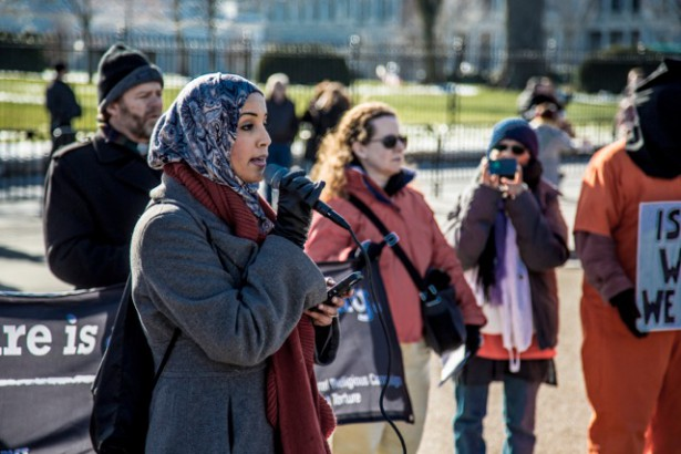 Zainab Chaudry of the Council on American-Islamic Relations addresses a rally to close Guantanamo at the White House on January 11, 2015.  (WNV/Justin Norman)