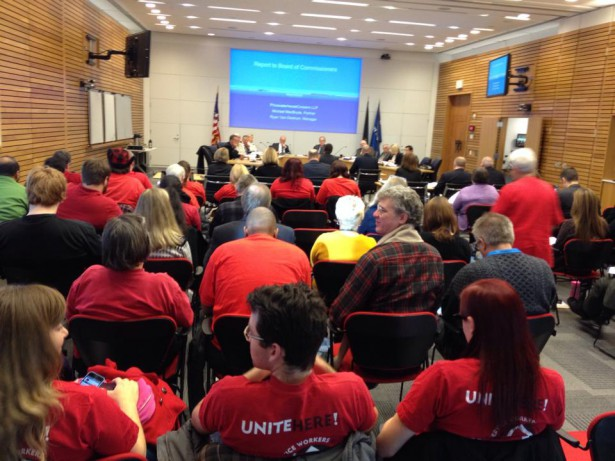 Workers waiting to testify at the Port Commission meeting. (Facebook / Portland Jobs With Justice)