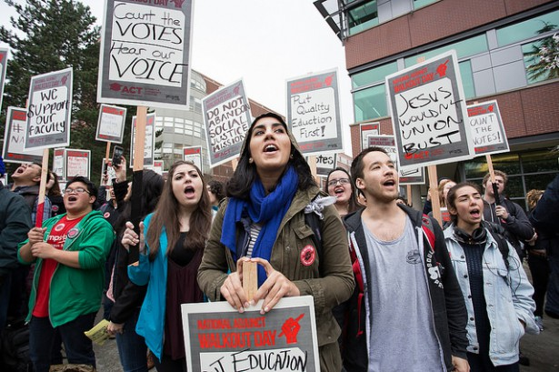 Seattle University faculty, students, staff stage one of the largest walkouts in thenation as part of National Adjunct Walkout Day Feb. 25. (Flickr/SEIU Local 925)