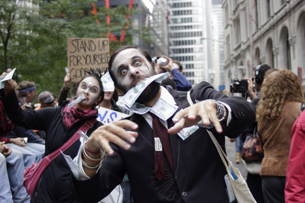 A zombie protest at Occupy Wall Street in New York. (Flickr/ Timothy Krause)