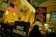 """Activist holds up a sign reading """"All Blood Is Red"""" in Grand Central on Martin Luther King Day. (WNV/Peter Rugh)"""