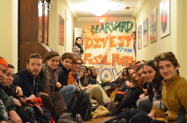 Thirty four Harvard Students held a sit-in outside President Faust's office calling for the university to divest. (Facebook / Divest Harvard)