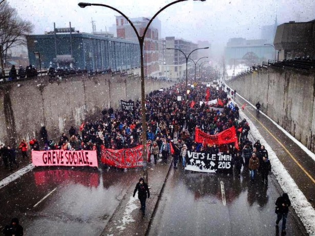 Students marching in Quebec earlier this week. (Facebook / ASSÉ)