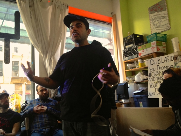 Jose LaSalle of Copwatch Patrol Unit speaks at a Disarm NYPD event on March 21. (WNV/Ashoka Jegroo)